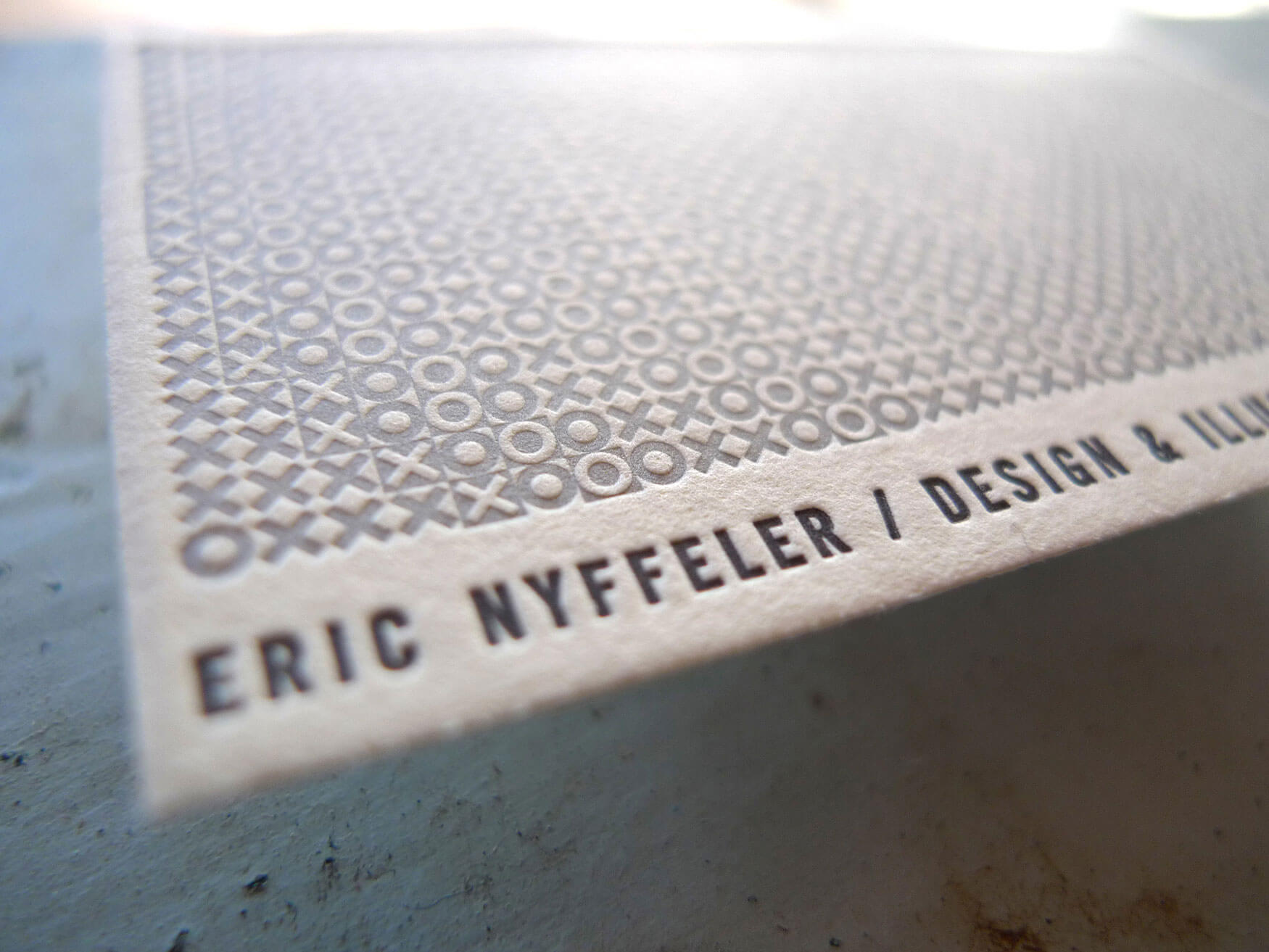 Eric nyffeler eric nyffeler business card my good friends at the half and half fired up their old vandercook and printed me up a bunch of letterpress goodness magicingreecefo Choice Image